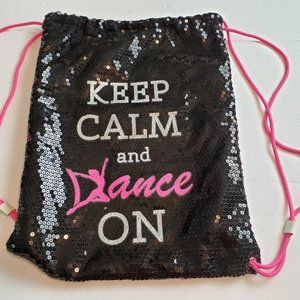 Black Sequence Back Pack Keep Calm & Dance On NWOT